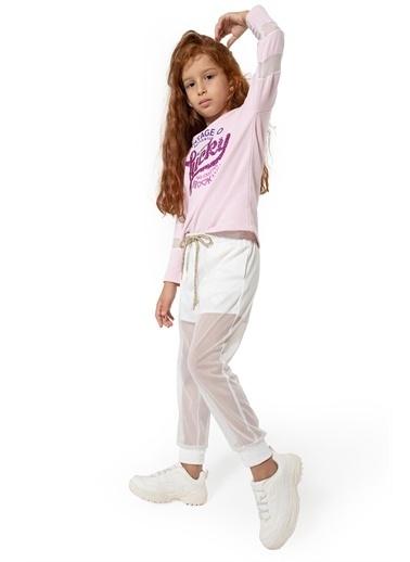 Colorinas Fileli Şort Pantolon Beyaz